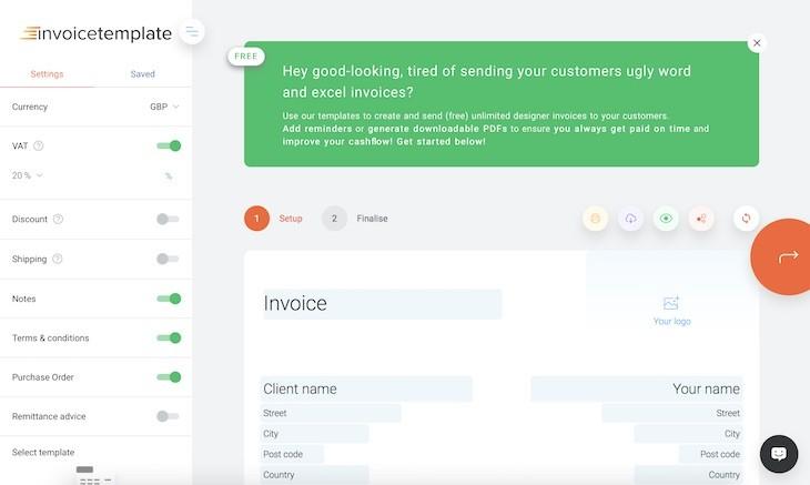 invoice template para crear facturas online de forma fácil y gratuita