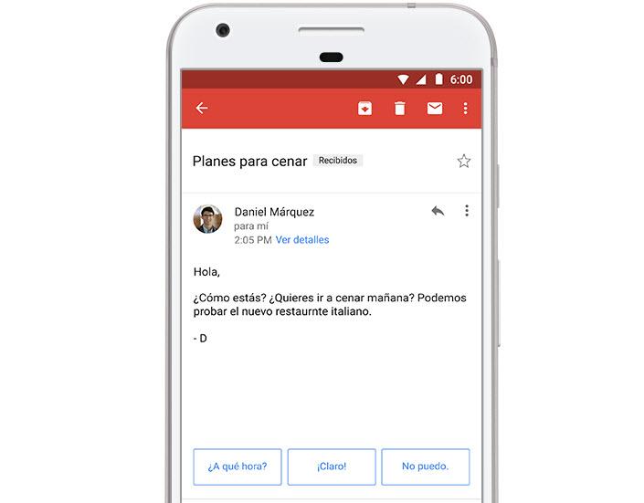 Las respuestas inteligentes ya están disponibles para Gmail en español