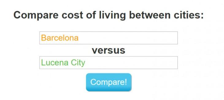 Comparador de costos de vida
