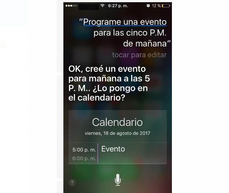 Programar eventos Siri
