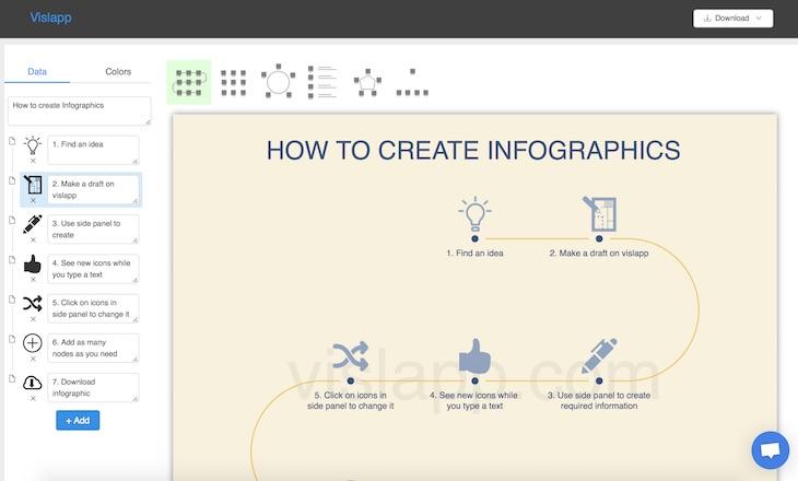 Vislapp, una web para diseñar infografías con iconos de forma sencilla