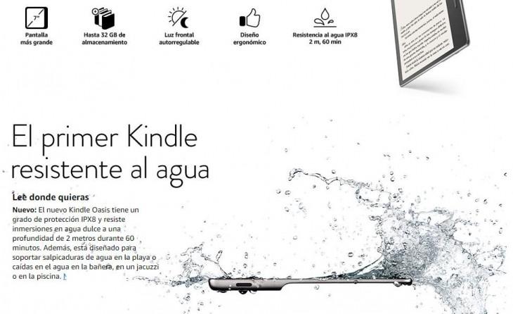 Amazon presenta el Kindle Oasis, su primer eReader con resistencia al agua