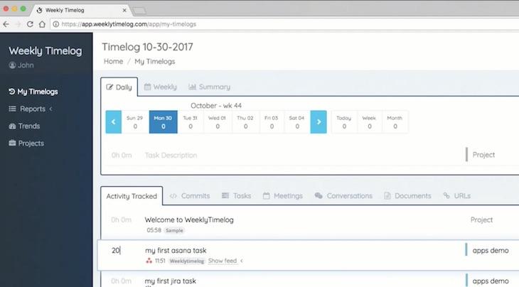 Weekly Timelog, para registrar el tiempo que los programadores dedican a cada tarea