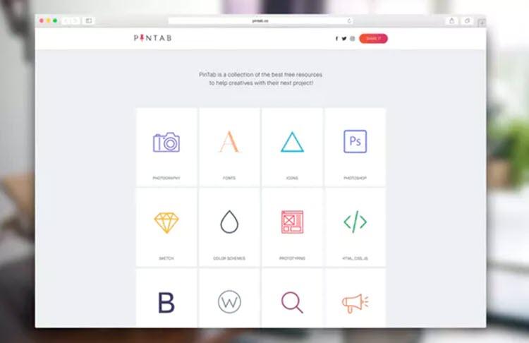 PinTab, colecciones de recursos gratuitos para creativos