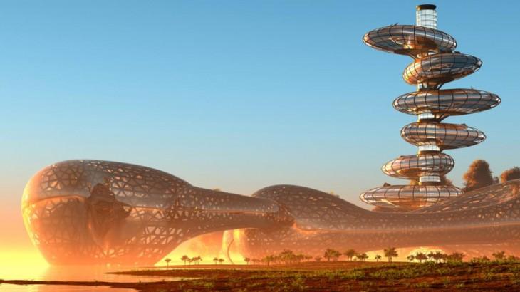 Imagen de ciudad futurista de depositphotos