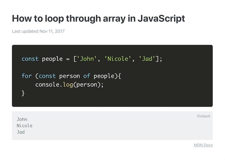 Code To Go, snippets de código para casos de uso comunes en JavaScript