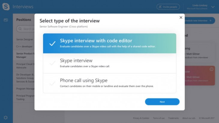 Skype Interviews Scheduler