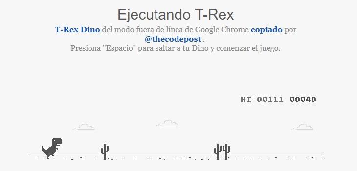 Jugar T Rex con internet
