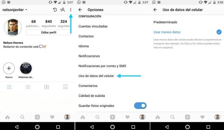 Uso de datos del celular en Instagram