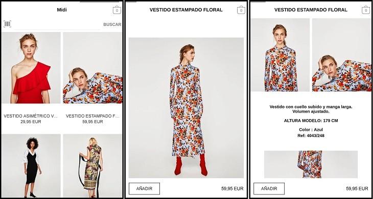 Zara app para Android