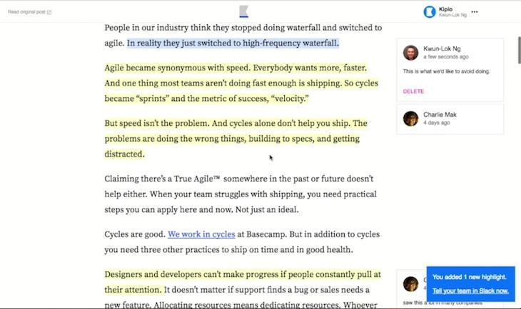 Kipwise, para guardar y anotar artículos en equipo desde Slack