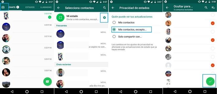 Ocultar estados WhatsApp