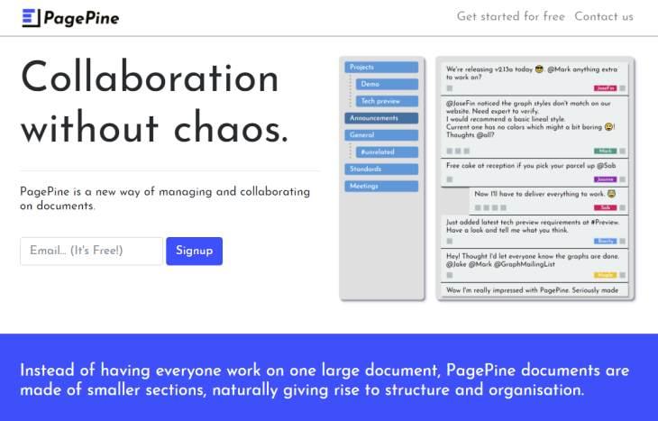 PagePine, nueva plataforma colaborativa para la edición de documentos por Internet