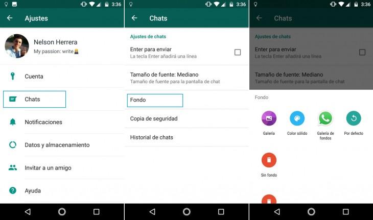 Pasos para cambiar el fondo de los chats en WhatsApp