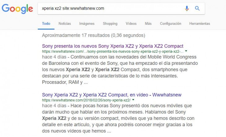Buscando xperia xz2 dentro de un dominio específico