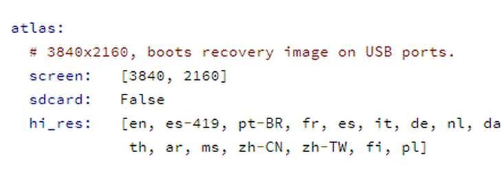 Captura de las líneas donde se hace referencia al hardware
