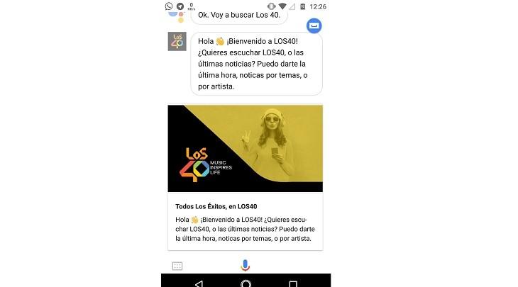 Escuchar LOS40 con Google Assistant