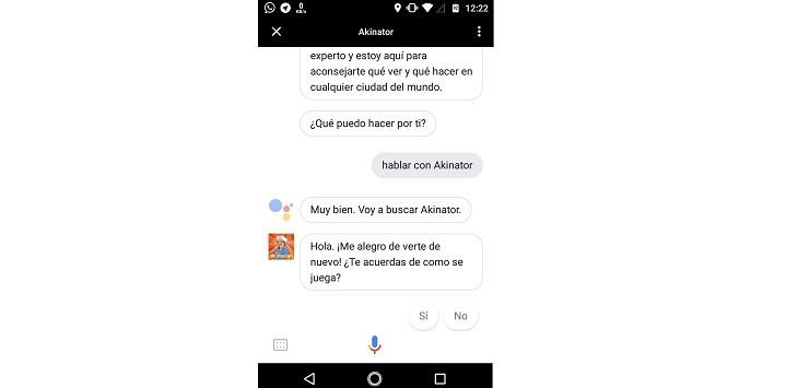 Jugar Akinator con Google Assistant