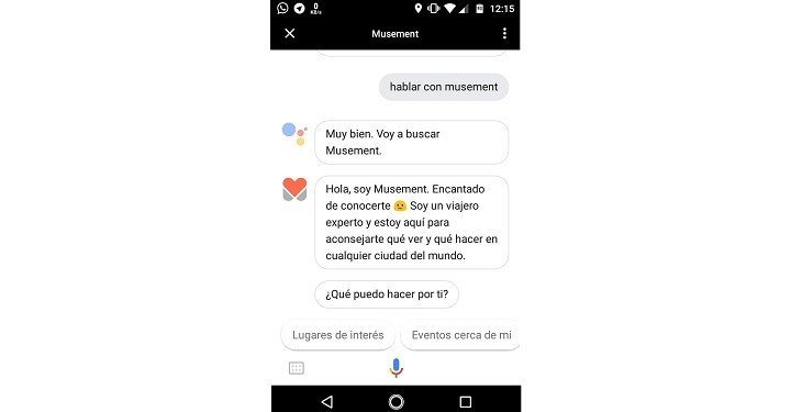 Musement buscar lugares con Google Assistant