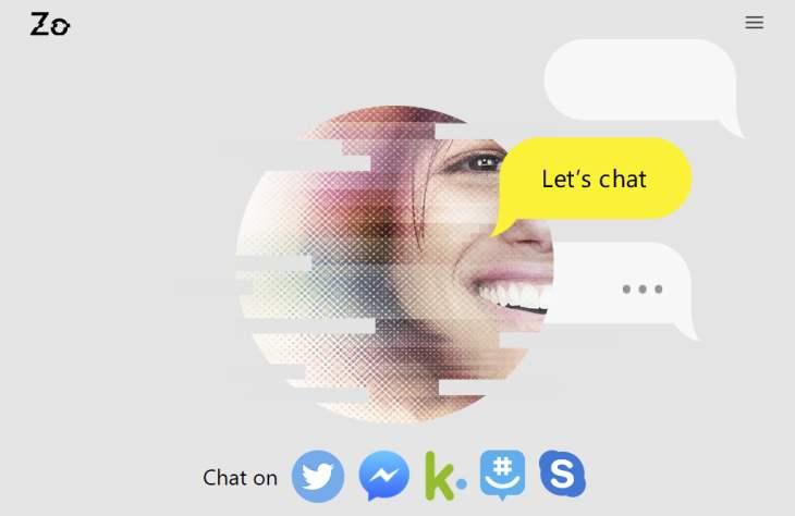 Chatbot Zo/ crédito de imagen: Microsoft