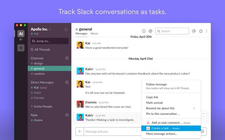 Asana ya cuenta con un plugin de Slack para convertir conversaciones en tareas