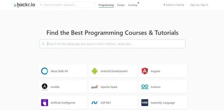 hackr, un buscador de los mejores cursos y tutoriales de programación