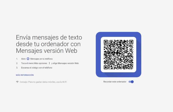 Captura del cliente web de Android Mensajes