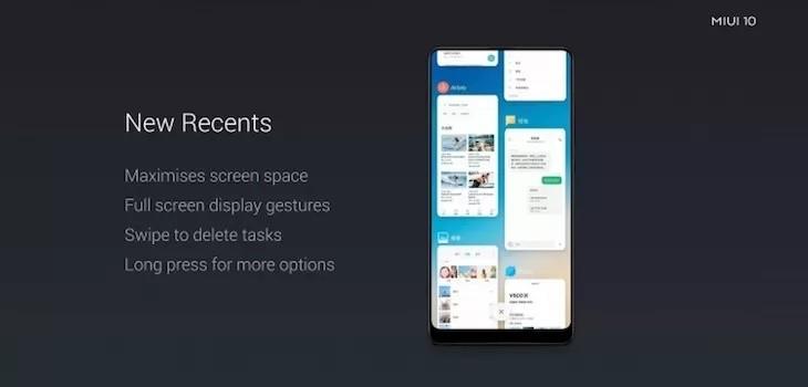 Aplicaciones recientes diseño MIUI 10