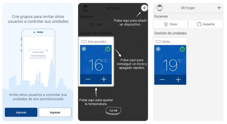 App Gree+ para android y iOS, para gestionar el aire acondicionado