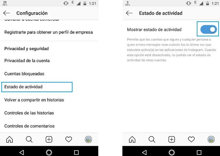 Cómo desactivar la última conexión en Instagram en 3 pasos