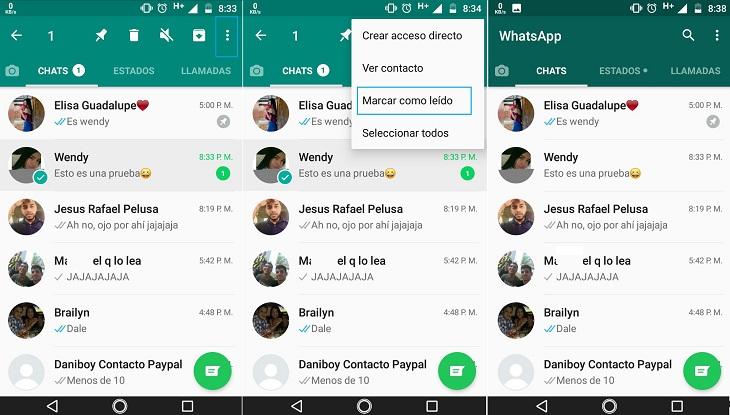 Pasos marcar mensaje como leído en WhatsApp