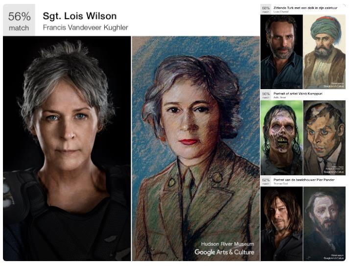 Resultado de Art Selfie con protagonistas de The Walking Dead. Via Twitter