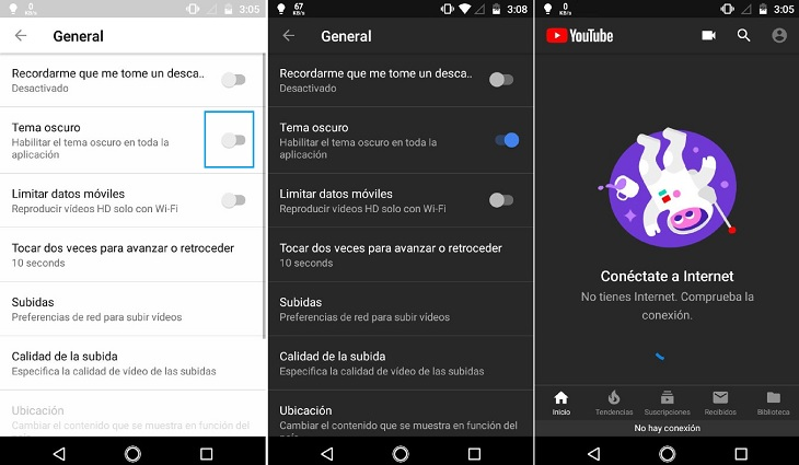 Modo oscuro de YouTube activado en Android