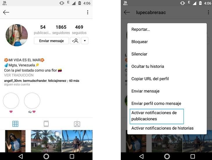 Activar notificaciones de un usuario en Instagram