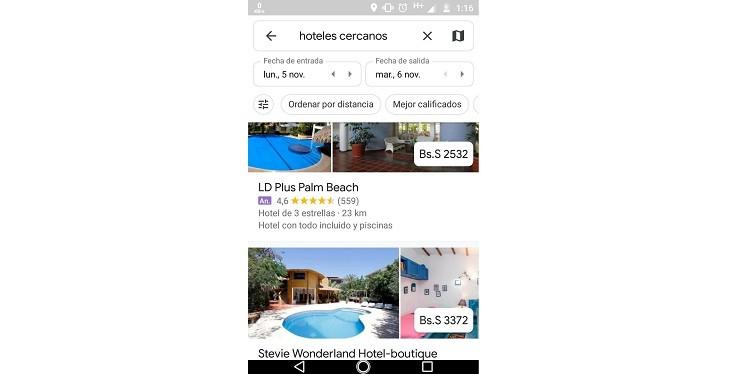 Buscador de hoteles desde Google Maps