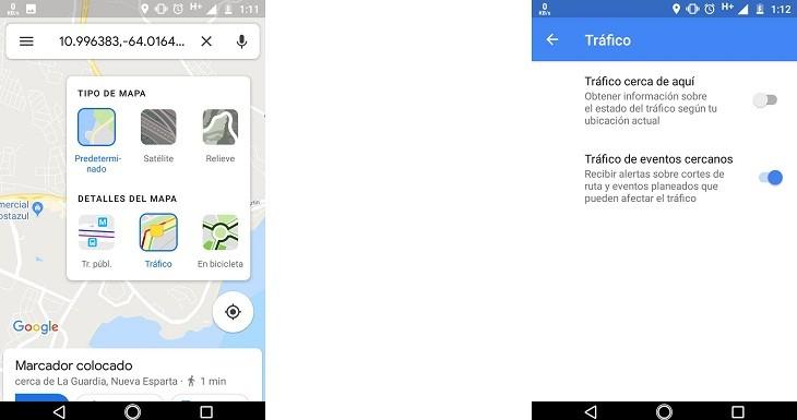 Tráfico en tiempo real en Google Maps