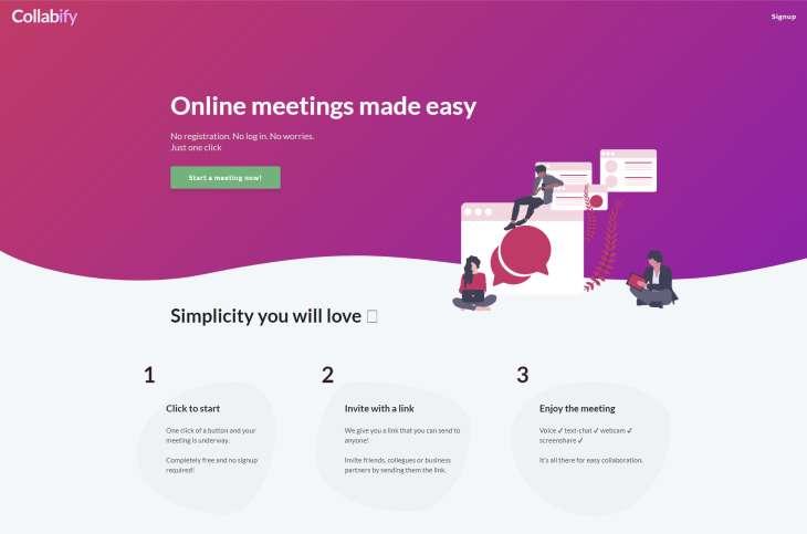 Collabify, sencilla herramienta para establecer reuniones virtuales