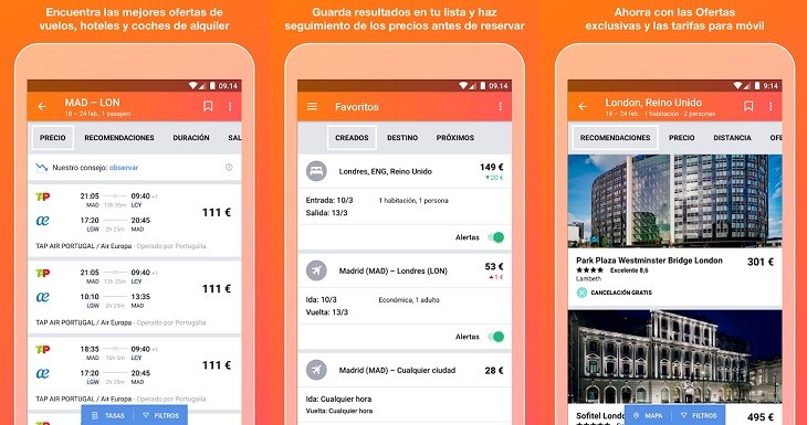 Kayak app para preparar viajes