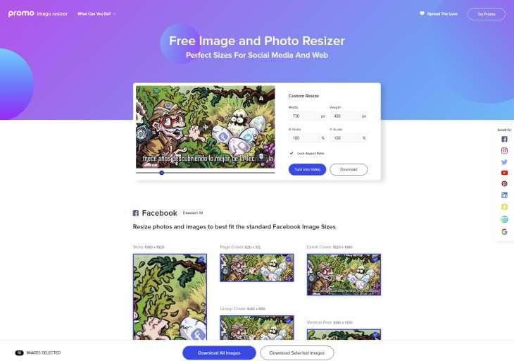Promo Image Resizer, para adaptar imágenes para redes sociales y plataformas web