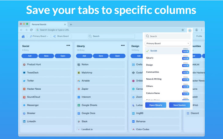 Qlearly, para organizar las pestañas del navegador en tableros y columnas
