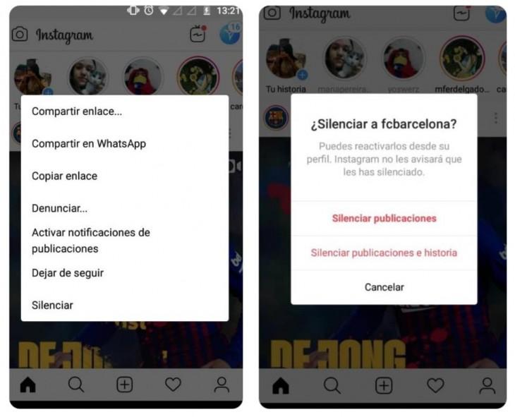 Pasos para silenciar usuarios en Instagram
