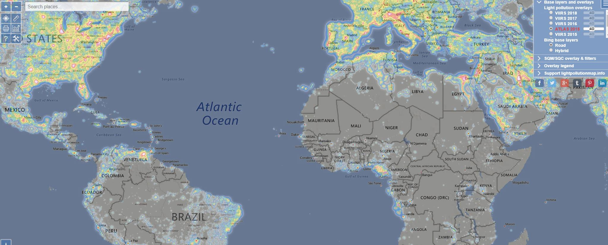 Un mapa interactivo de polución lumínica del mundo