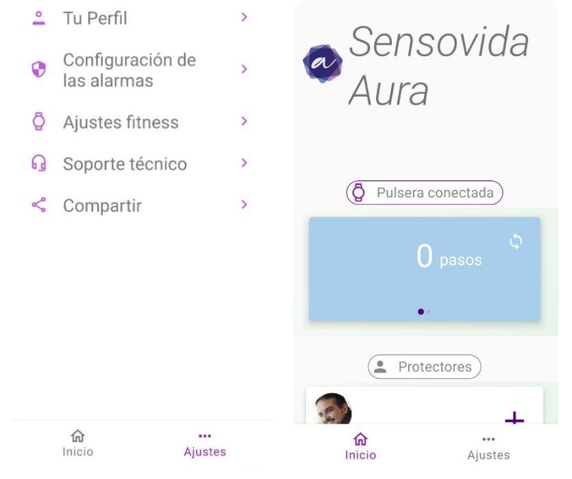 Modo de ajustes y pantalla de inicio de la app Sensovida Aura