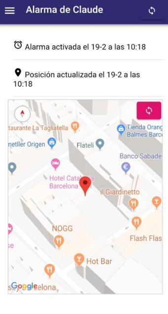 Mapa que recibe el protector después de generarse una alarma