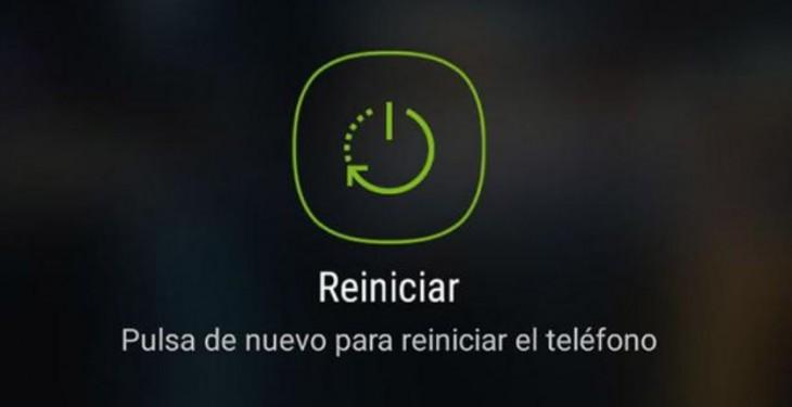 pantalla de reinicio de móvil