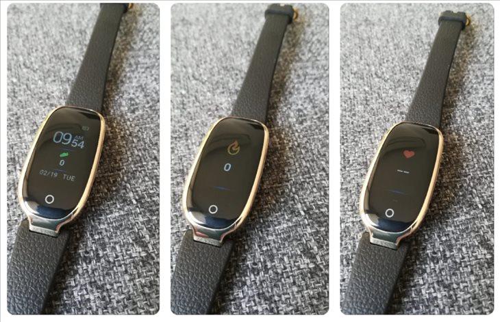 Tres de las diferentes pantallas que se pueden ver en la pulsera Sensovida Aura