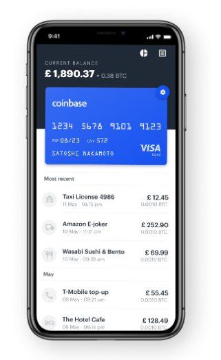 app de coinbase con los gastos de la tarjeta