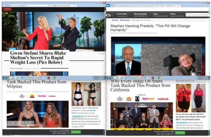 Aspecto de algunas de las webs que vendían productos falsos