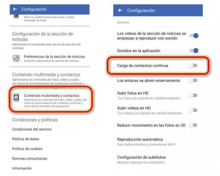 opciones facebook