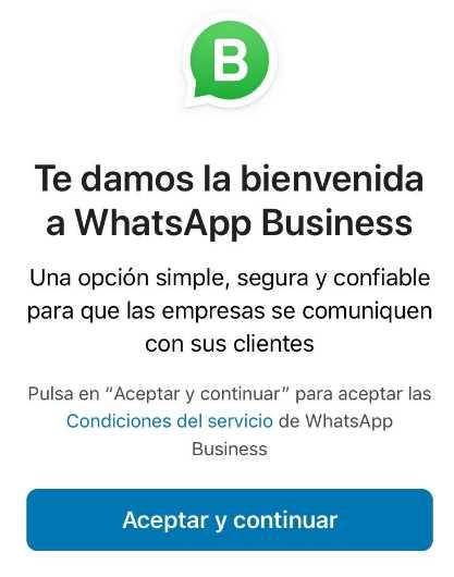 Bienvenida de Whatsapp Business en iPhone